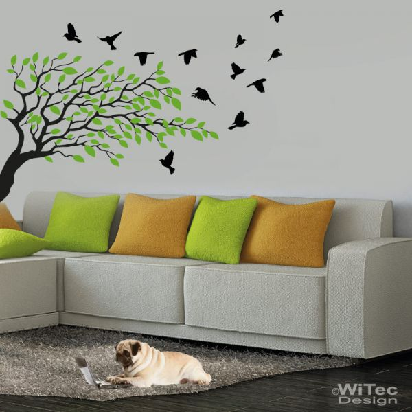 wandtattoo baum vogel bl tter wandaufkleber 2 farbig. Black Bedroom Furniture Sets. Home Design Ideas