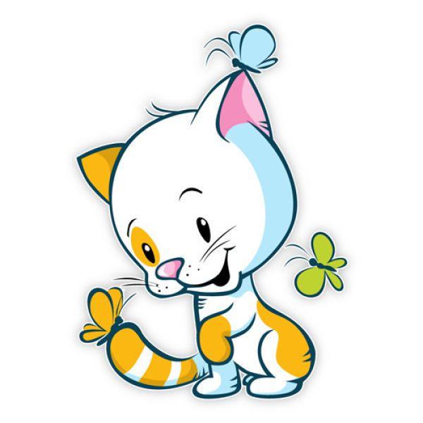 Wandtattoo Katze Schmetterlinge Kinderzimmer Wandaufkleber