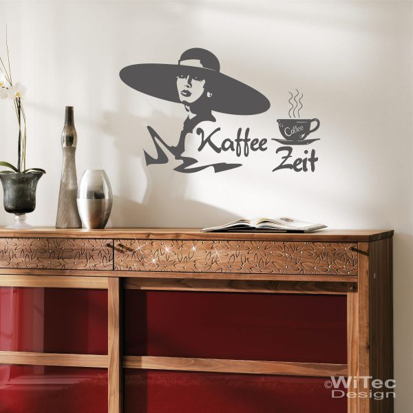 wandtattoo kaffee zeit wandaufkleber k che. Black Bedroom Furniture Sets. Home Design Ideas