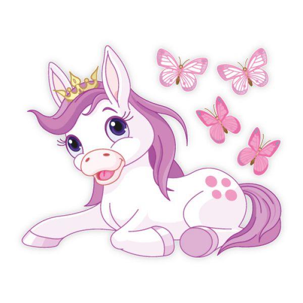 Wandtattoo Pferd Pony Prinzessin Krone Schmetterlinge Wandaufkleber