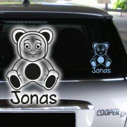 Babyaufkleber Junge Name Teddy Bär Autoaufkleber
