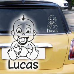 Babyaufkleber Junge Name Lolli Autoaufkleber