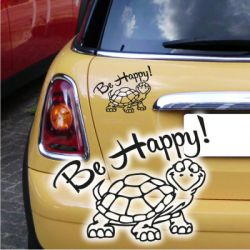 Autoaufkleber Be Happy Turtle Schildkröte Auto Aufkleber Sticker
