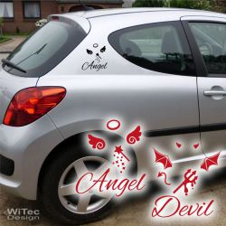 Autoaufkleber Engel Teufel Auto Aufkleber Sticker Set
