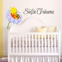 Biene Blume Süße Träume Wandtattoo Wandaufkleber Kinderzimmer