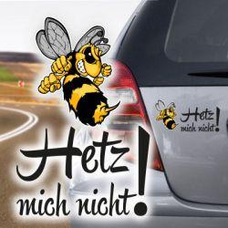 Hetz mich nicht Autoaufkleber Hornisse Biene Wespe Aufkleber Auto
