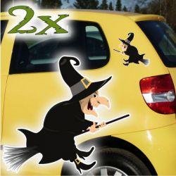 Hexe Hexen Autoaufkleber 2er SET Auto Aufkleber Gothik Sticker