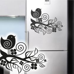 Kühlschrankaufkleber Blumenaufkleber Vogel Dekoaufkleber