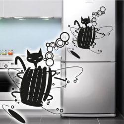 Kühlschrankaufkleber Katze Dekoaufkleber Retro