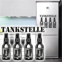 Kühlschrankaufkleber Tankstelle Dekoaufkleber Bier