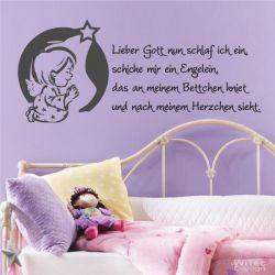 Wandtattoo Kinderzimmer Lieber Gott... Kindergebet Engel