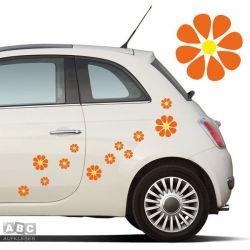 Autoaufkleber BLUMEN Aufkleber Blumenaufkleber SET 4