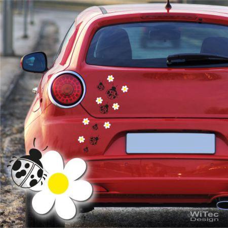 AA014 Blumen Marienkäfer Aufkleber Set 19 tlg VW Smart opel