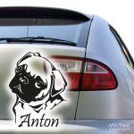 MOPS + Wunschname Aufkleber Autoaufkleber Hund