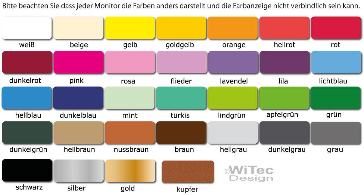 Farbtabelle für Türaufkleber und Wandtattoos