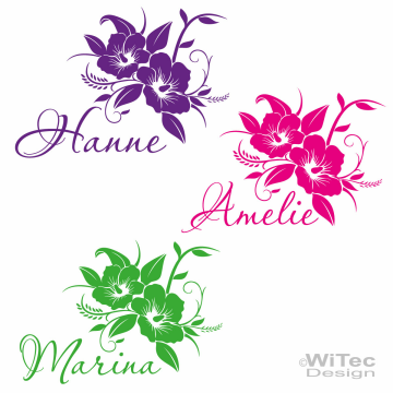 AA189 Hibiskus + Name Blumen Auto Aufkleber Hawaii Sticker