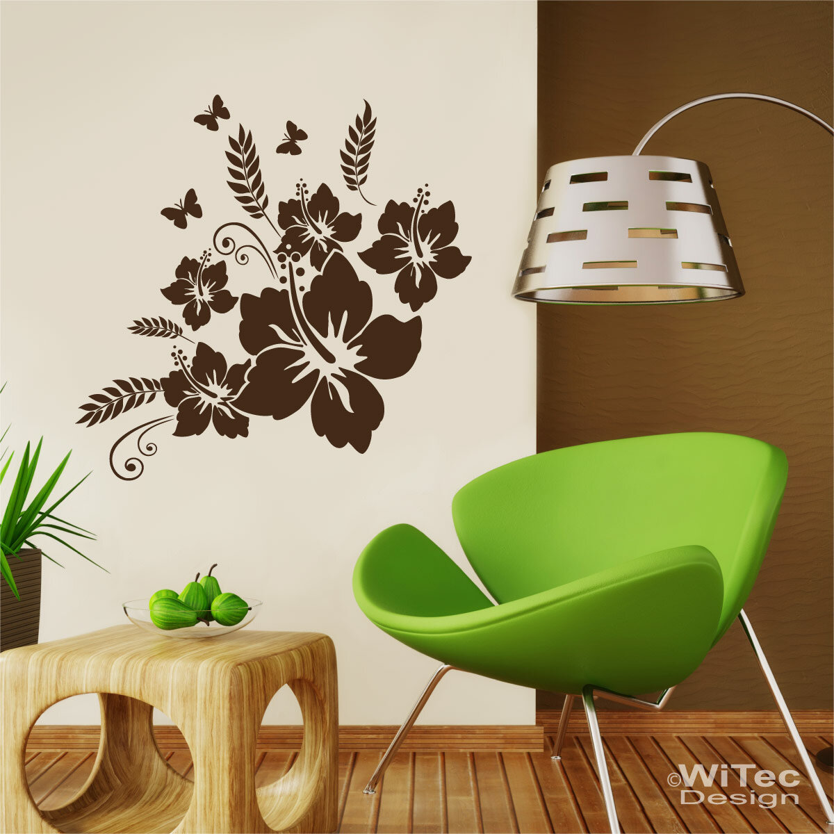 wandaufkleber hibiskus schmetterlinge wandtattoo. Black Bedroom Furniture Sets. Home Design Ideas