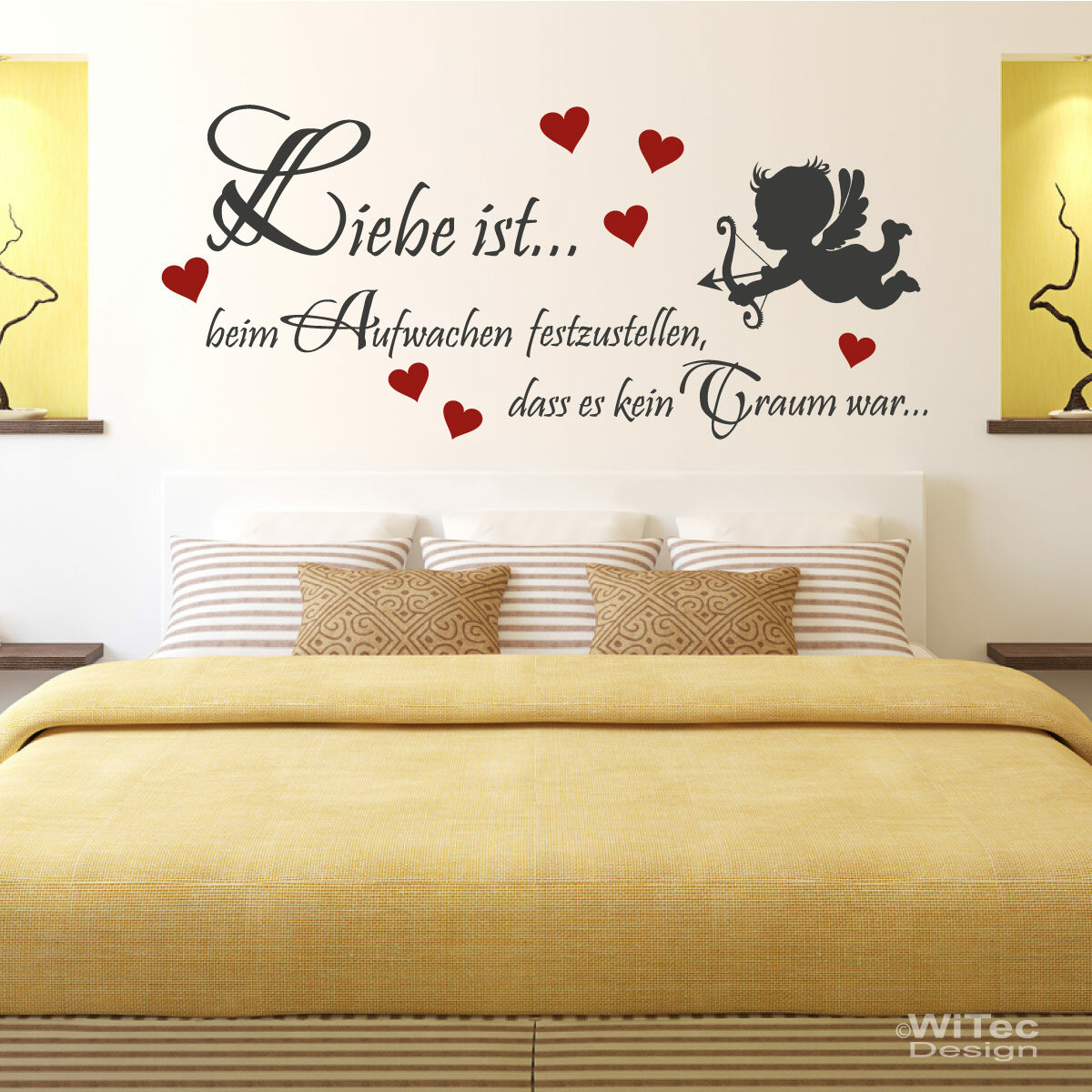 wandaufkleber liebe ist wandtattoo engel schlafzimmer. Black Bedroom Furniture Sets. Home Design Ideas