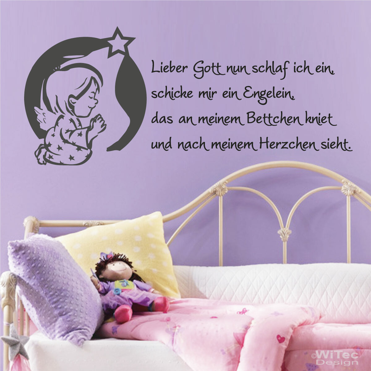 wandtattoo kinderzimmer lieber gott kindergebet engel. Black Bedroom Furniture Sets. Home Design Ideas