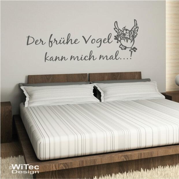 WA320 Wandtattoo Schlafzimmer Der frühe Vogel kann mich mal...!
