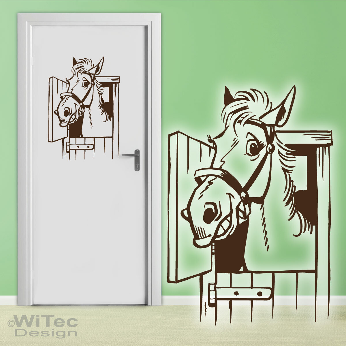 T raufkleber pferd t r aufkleber wandtattoo kinderzimmer - Pferde kinderzimmer ...