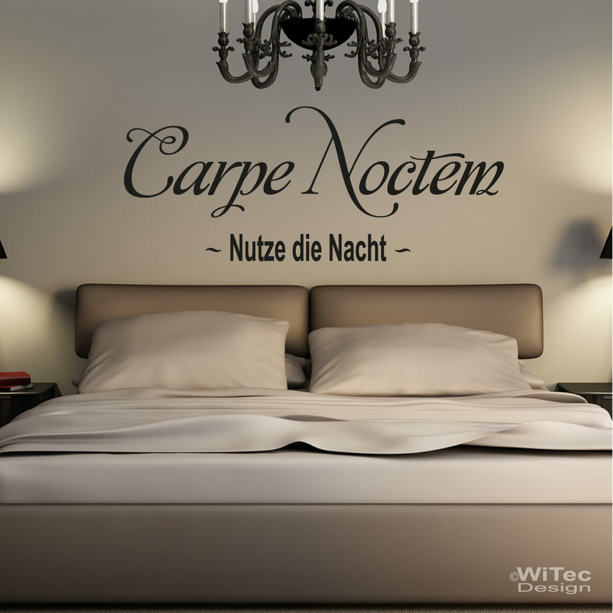 wandaufkleber carpe noctem wandtattoo nutze die nacht. Black Bedroom Furniture Sets. Home Design Ideas