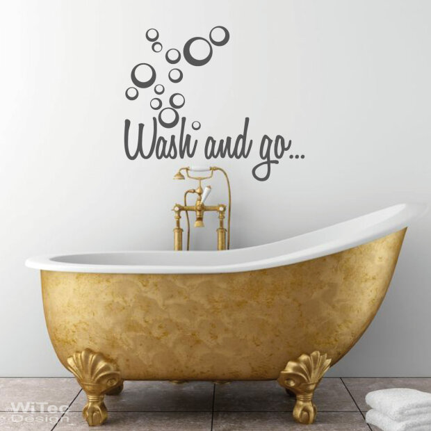 Wandtattoo Badezimmer Wash and go... Wandaufkleber