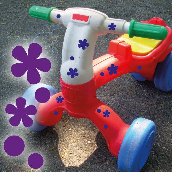 Fahrrad Aufkleber Blumen Und Punkte Set Abc Aufkleberde