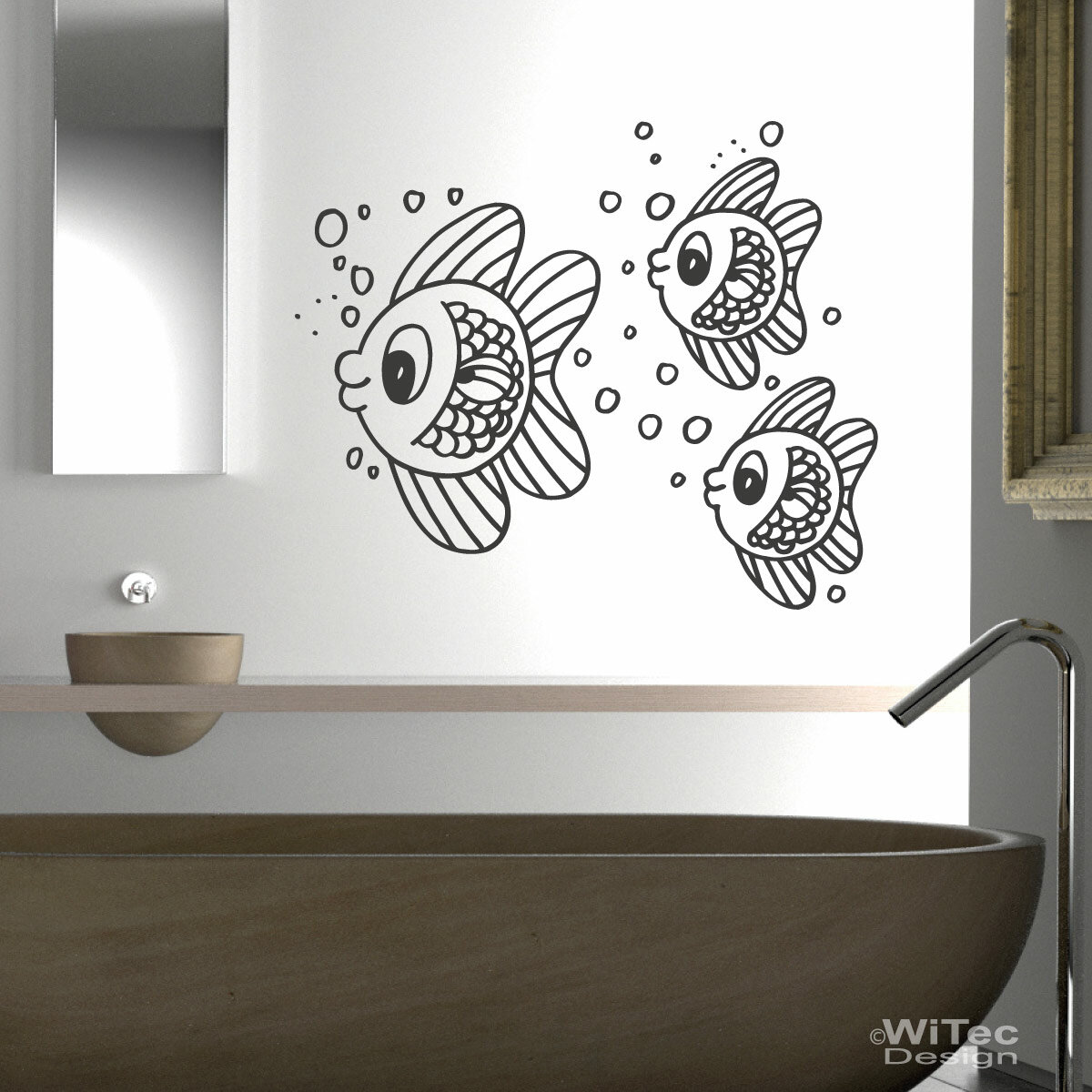 wandtattoo badezimmer fischschwarm wandaufkleber fische. Black Bedroom Furniture Sets. Home Design Ideas