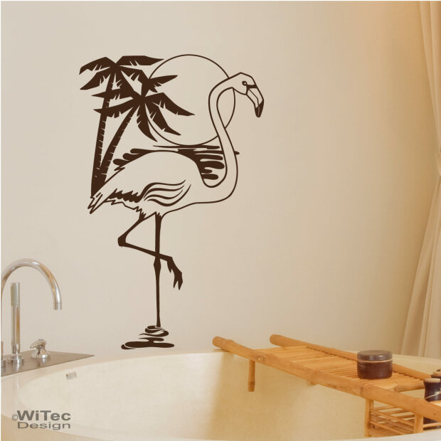 wandtattoo badezimmer flamingo palme wandaufkleber. Black Bedroom Furniture Sets. Home Design Ideas