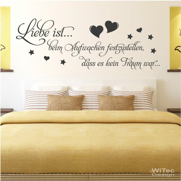 wandtattoo wandaufkleber liebe ist schlafzimmer. Black Bedroom Furniture Sets. Home Design Ideas