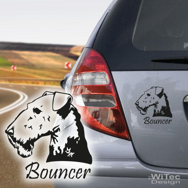hundeaufkleber airedale terrier mit namen aufkleber autoaufkleber. Black Bedroom Furniture Sets. Home Design Ideas