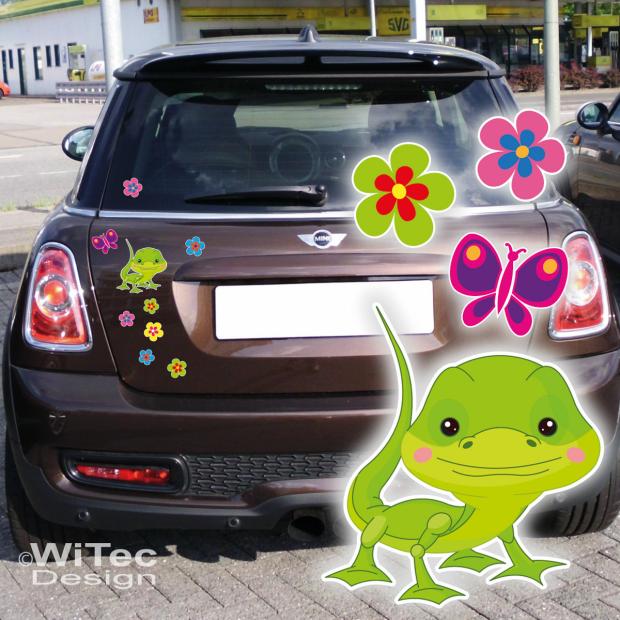 gecko gekko blumen schmetterling autoaufkleber auto aufkleber. Black Bedroom Furniture Sets. Home Design Ideas