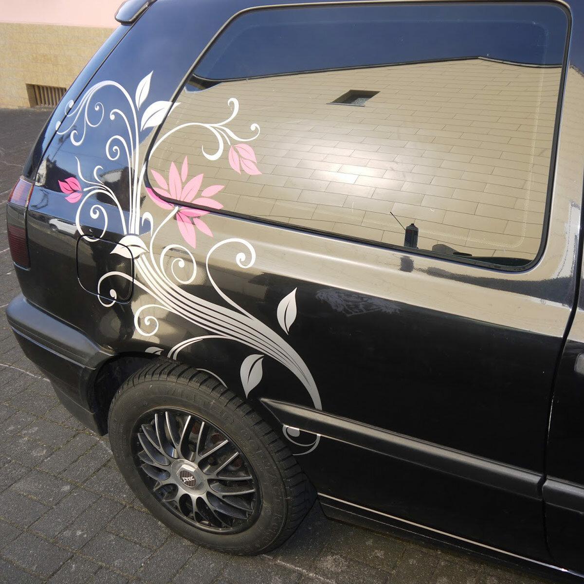 blumenranke autoaufkleber blumen aufkleber ranken auto. Black Bedroom Furniture Sets. Home Design Ideas