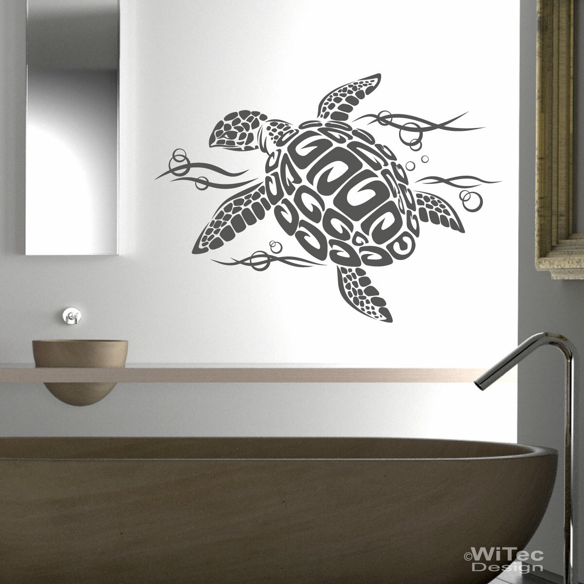 wandtattoo badezimmer schildkr te turtle wandaufkleber. Black Bedroom Furniture Sets. Home Design Ideas