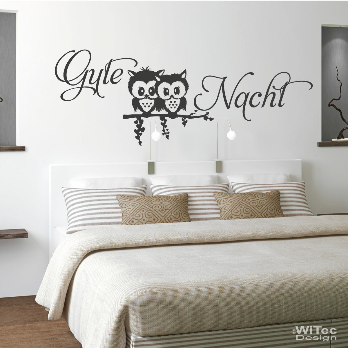 eulen gute nacht liebe wandtattoo wandaufkleber. Black Bedroom Furniture Sets. Home Design Ideas