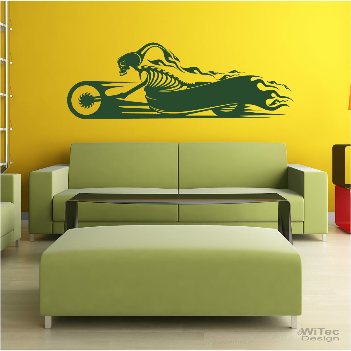motorrad skull flames wandtattoo wandaufkleber. Black Bedroom Furniture Sets. Home Design Ideas