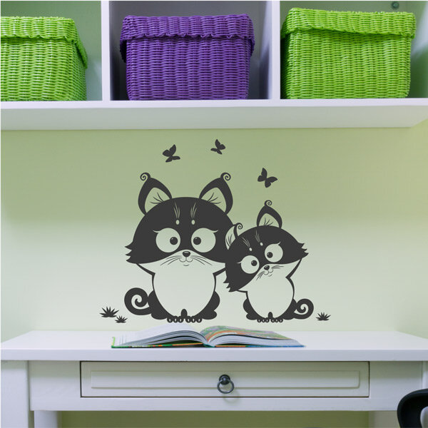 katze schmetterling katzen wandtattoo wandaufkleber kinderzimmer. Black Bedroom Furniture Sets. Home Design Ideas