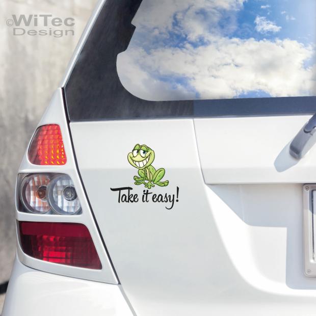 Autoaufkleber Frosch Schriftzug Take It Easy Aufkleber Auto