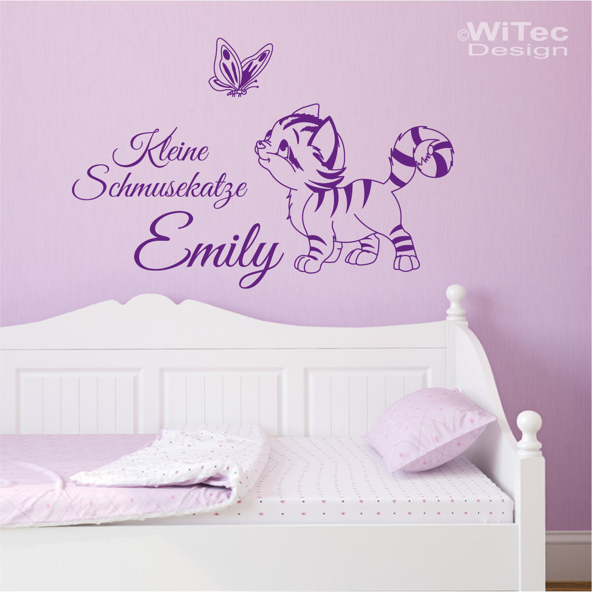 wandtattoo kinderzimmer katze schmetterling name wandaufkleber. Black Bedroom Furniture Sets. Home Design Ideas