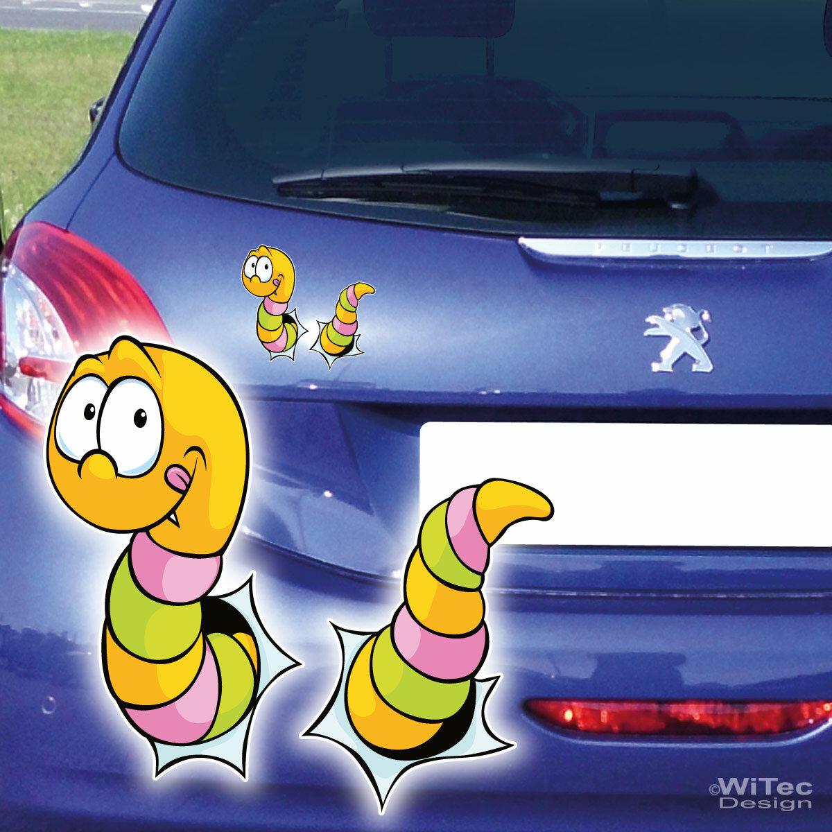 Lustiger Wurm Auto Aufkleber Digitaldruck