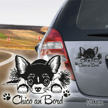 Hundeaufkleber Chihuahua an Bord Wunschname