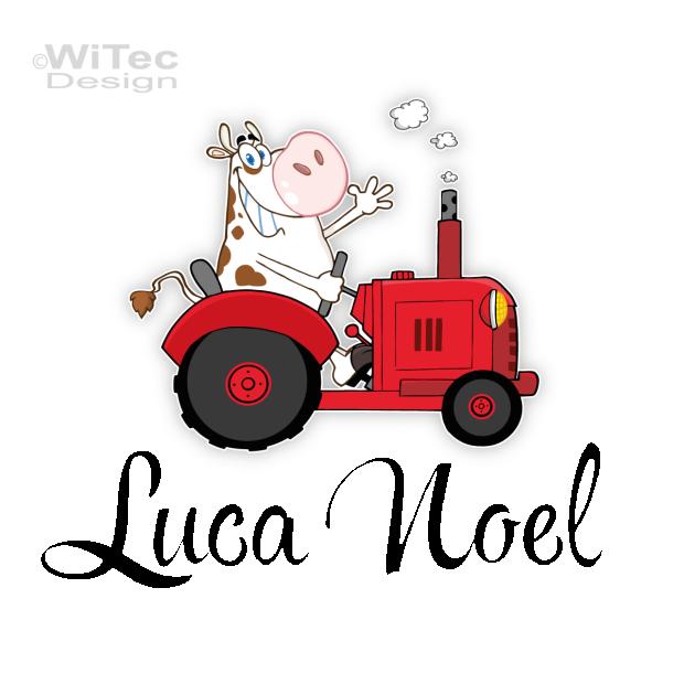 Turaufkleber Traktor Mit Lustiger Kuh Name Kinderzimmer