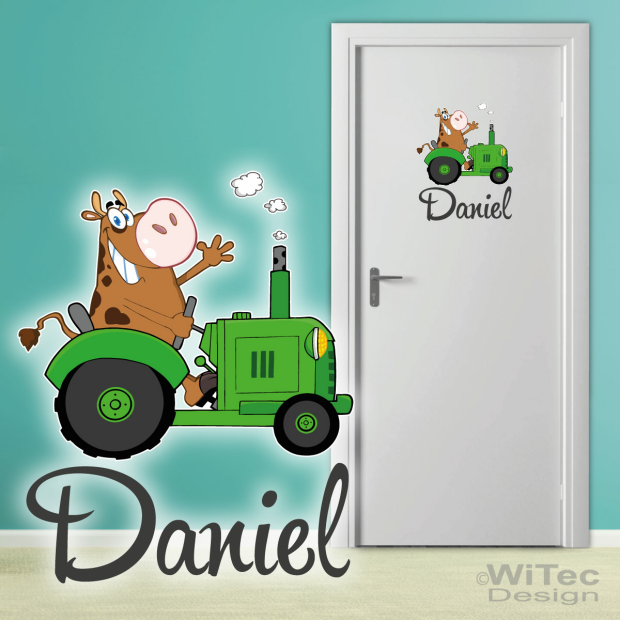 Türaufkleber Traktor mit Kuh Bauernhof Kinderzimmer
