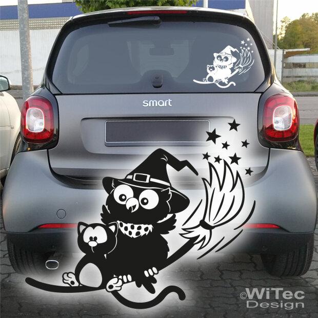 Autoaufkleber Hexe Eule Katze Aufkleber Auto