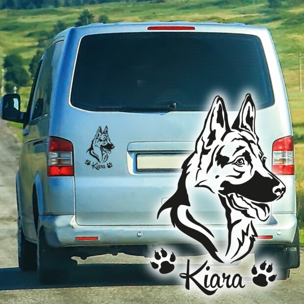Deutscher Schäferhund Hundeaufkleber Pfoten Name Autoaufkleber