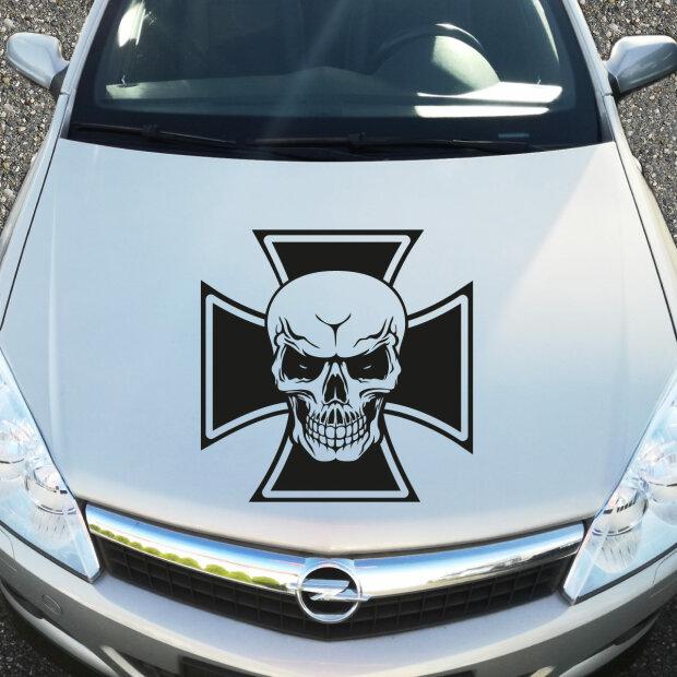 Eisernes Kreuz Totenkopf Aufkleber Motorhaube Skull