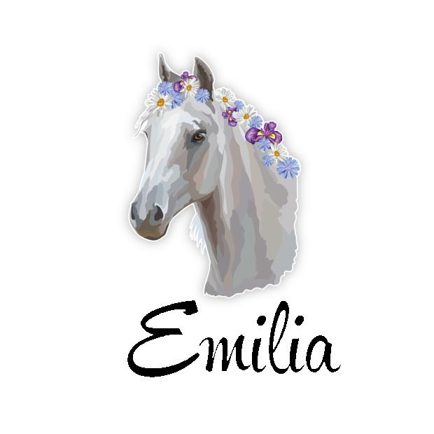 Türaufkleber Pferd Blumen Mädchen Kinderzimmer