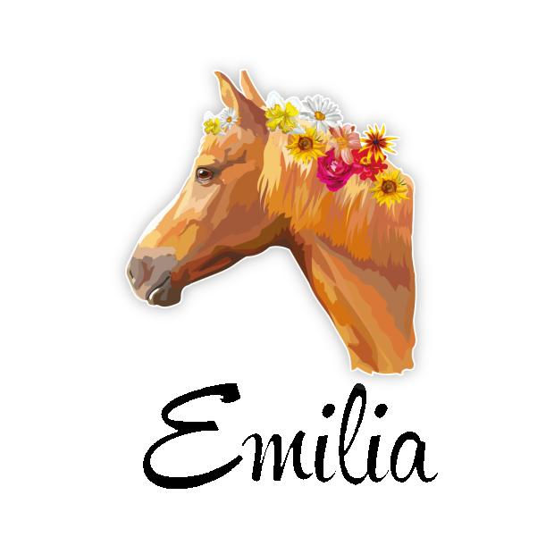 Türaufkleber Kinderzimmer Pferd Blumen Mädchen