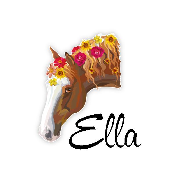 Pferd Blumen Turaufkleber Kinderzimmer Turtattoo